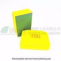 2pcs 400 Diamond Hand Polishing Pad 90X55MM Hard Foam Backed Manual Sanding Block For Marble Granite