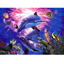Megayouput 3D diy diamond painting cross stitch kits  embroidery The underwater world mosaic pattern Cartoon dolphin gift