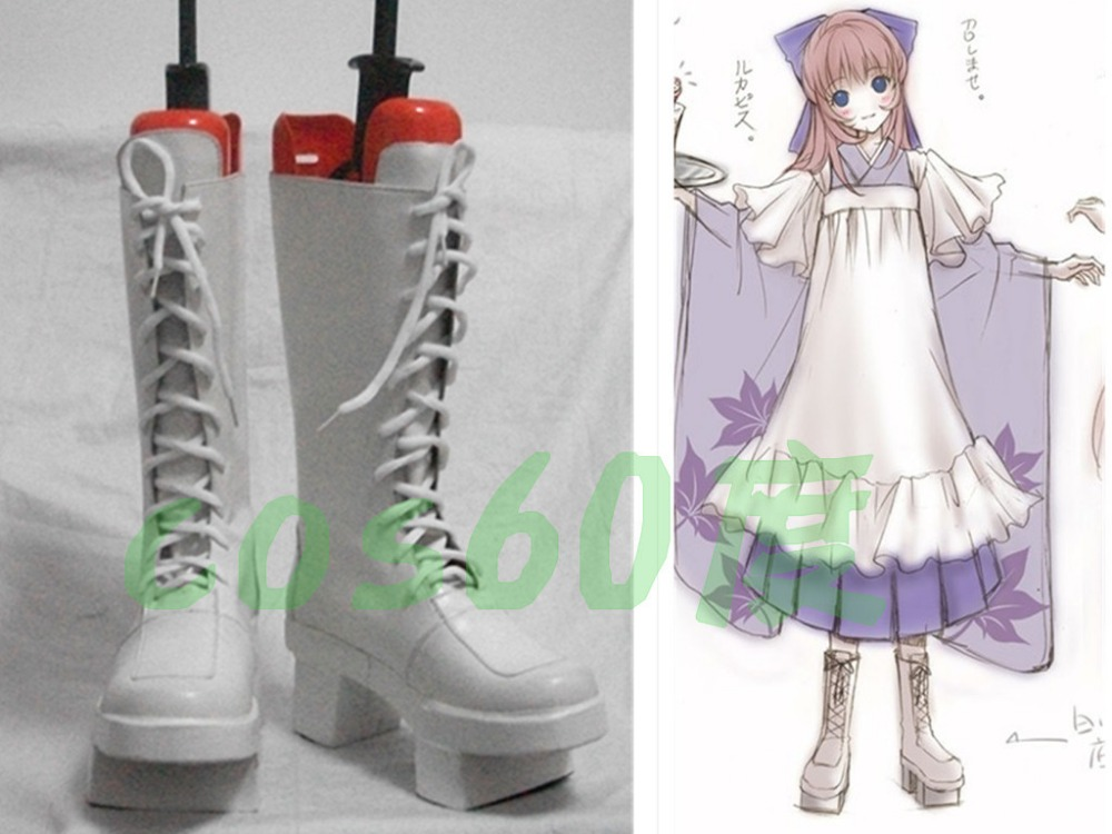 VOCALOID Senbonzakura LUKA White Cosplay Boots Shoes S008