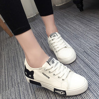 Fashion Summer Sneakers Women Vulcanize Shoes Lace Up White Flat Canvas Casual Shoes Woman Breathable Wlaking
