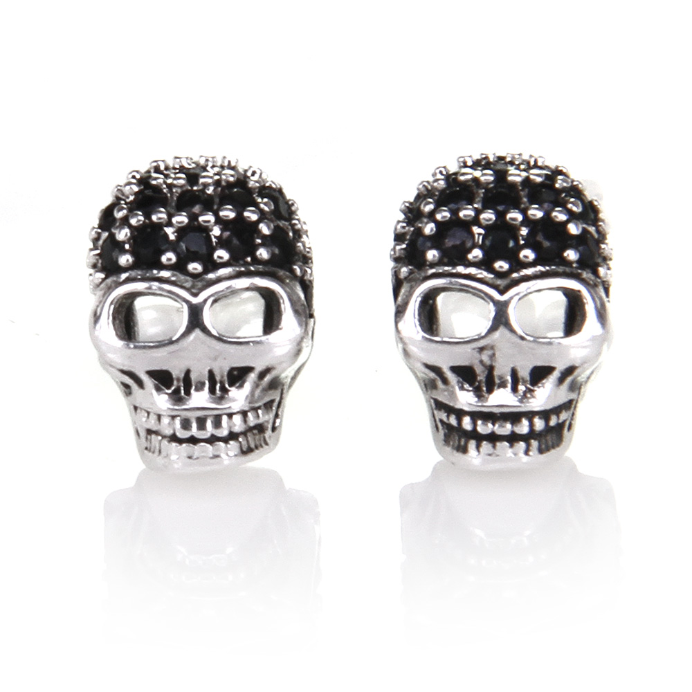 Thomas Skull with Rhinestone Stud Earring, European Rebel Heart Style Jewelry for Men an ...