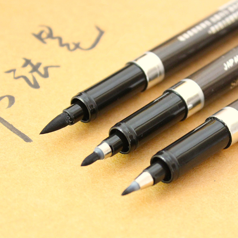 3 Pcs/lot Multifunction Brush Pen Calligraphy Pen Markers Art Writing Office School Supplies Stationery Student