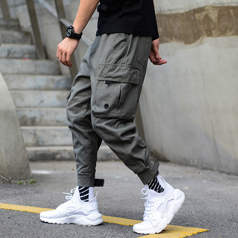 a93a5f3870b Detail Feedback Questions about American Street Style Fashion Men s Jogger  Jeans Black Green Ankle Banded Big Pocket Cargo Pants Men Loose Fit Hip Hop  Pants ...
