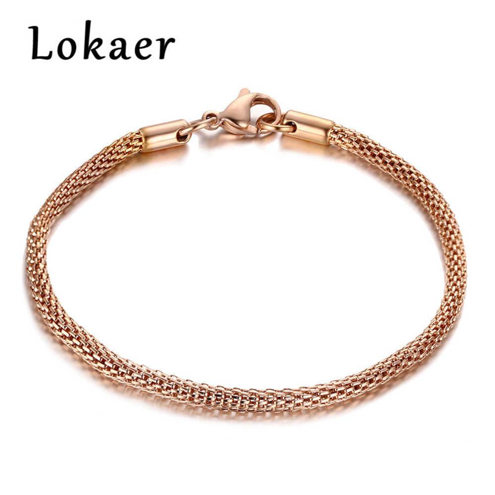 Lokaer 3 мм круглая сетка из нержавеющей стали звено цепи браслет в розово-золотой, серебряный тон для мужчин и женщин ювелирные изделия B18108