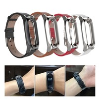 Mijobs Leather Strap For Xiaomi Mi Band 2 Wristband Screwless Bracelet For Miband 2 Smart Band