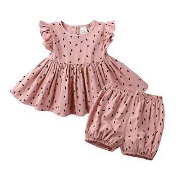 2020 Summer Baby Girls Sets Flare Sleeve Solid Dot Design Dress + Shorts Suits Casual Outfits Sets Cute 2PCS MB513 1