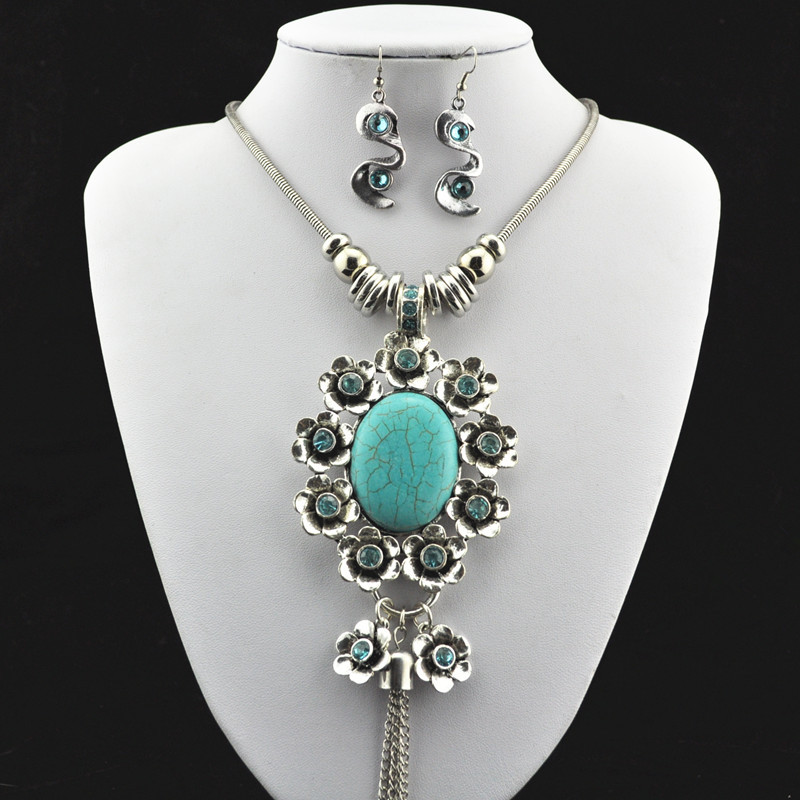 S182 Natural Crystal Stone Necklace Pendant & Earring Antique Silver,Jewlery Set ,Women Gift,Vintage Look,Tibet Alloy