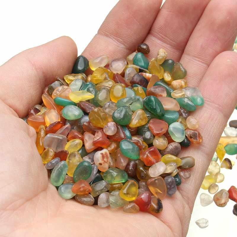 KiWarm nowy 100g kolorowy nieregularny kształt spadł kamień agat Rock klejnot koralik Chip dla Fish Tank akwarium Decor materiałów 7 * 9mm