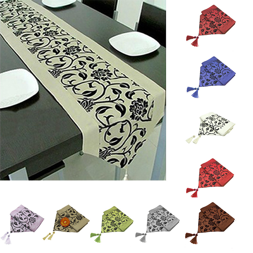 Embroidery Table Runner Raised Flora Blossom Flocked Damask Home Hotel Restaurant Table Cloth Wedding Decoration Chemin De Table