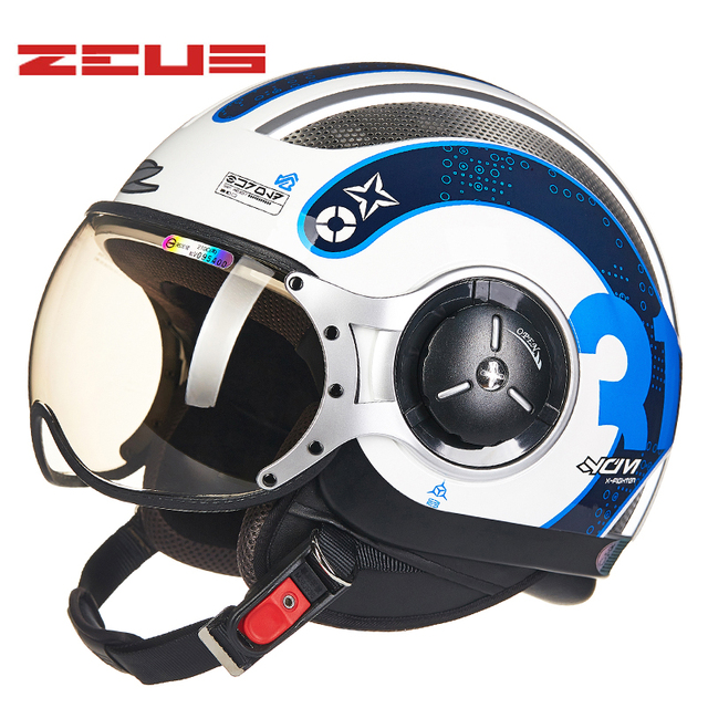 70 19 36 De Reduction Zeus 3 4 Casque Moto Femme Jet Retro Demi Casque Dot Homologue 218c Capacete Casco Moto Ville Route Casques De Course Homme