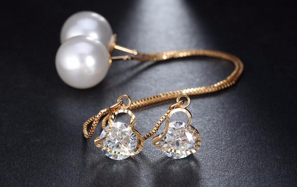 Effie Queen Fashion Cute Ear Wire Earrings Female Models Long Drop Crystal Imitation Pearl Jewelry Dangle Earrings Brincos DDE26 7
