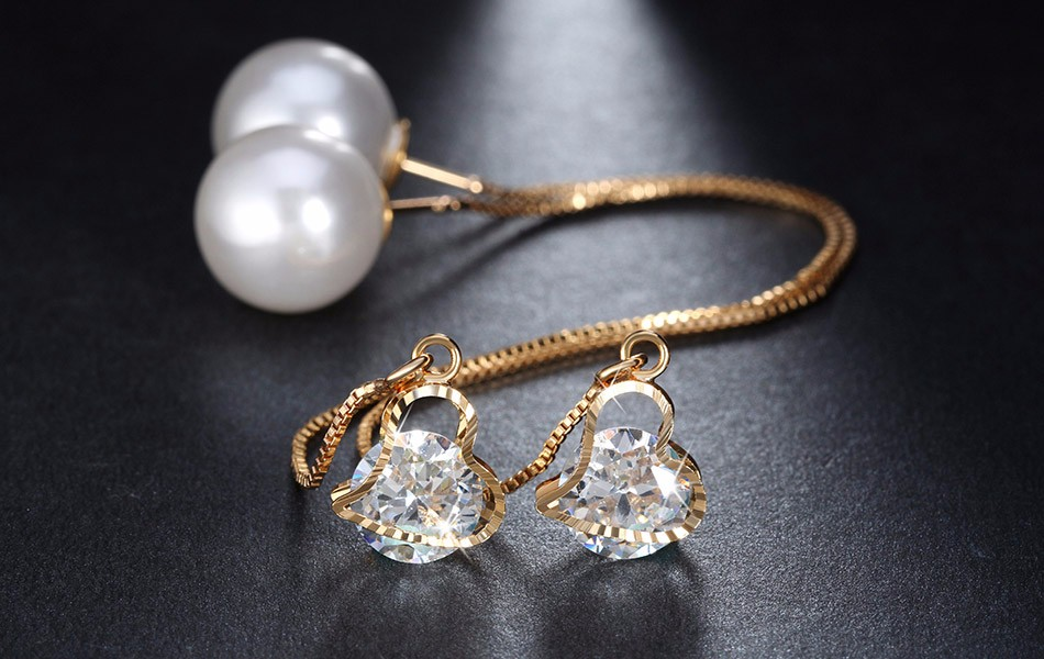 Effie Queen Fashion Cute Ear Wire Earrings Female Models Long Drop Crystal Imitation Pearl Jewelry Dangle Earrings Brincos DDE26 7