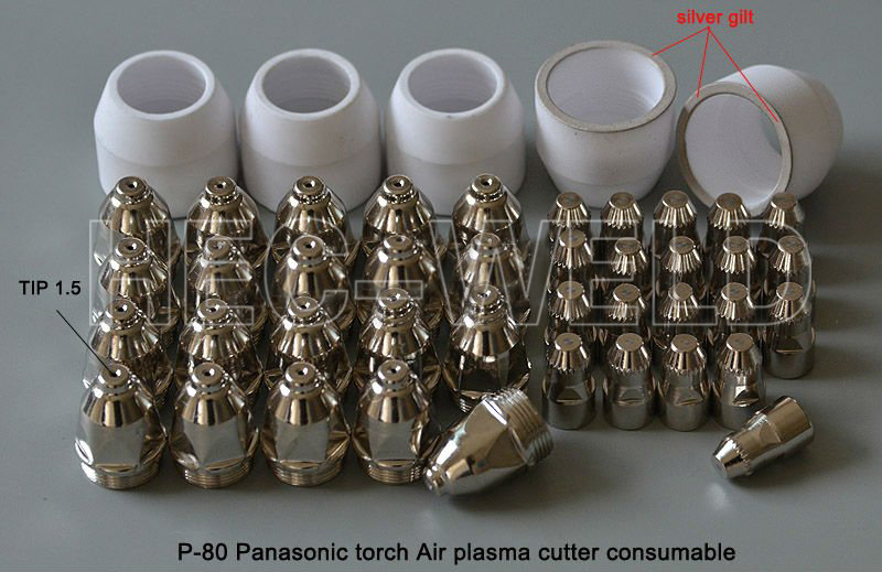 P80 Air Plasma Cutting Cutter Torch Consumables Plasma TIPS Nozzles 1.5mm 100Amp Plasma Electrodes quality cutting knife 45PK plasma tips and plasma electrodes 100 120amp for jg 100 plasma cutter torch consumables accessories 70pk