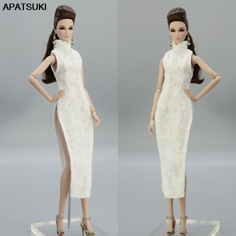 High Quality White Lace Fashion Doll Clothes For Barbie Doll Dress Chinese Traditional Qipao Clothing 1/6 Doll Accessories