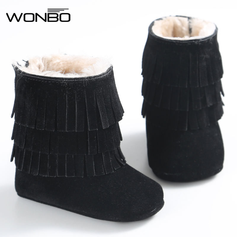 2019 Winter 3 Layer Tassels Baby Moccasins Fleece Suede Leather Fringed Boots Infant Toddler Soft Bottom Thick Cotton Boots
