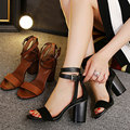 Sexy High Heels Women Ankle Strap Sandal Faux Velvet High-heeled Summer Thick Heel Shoes Pumps