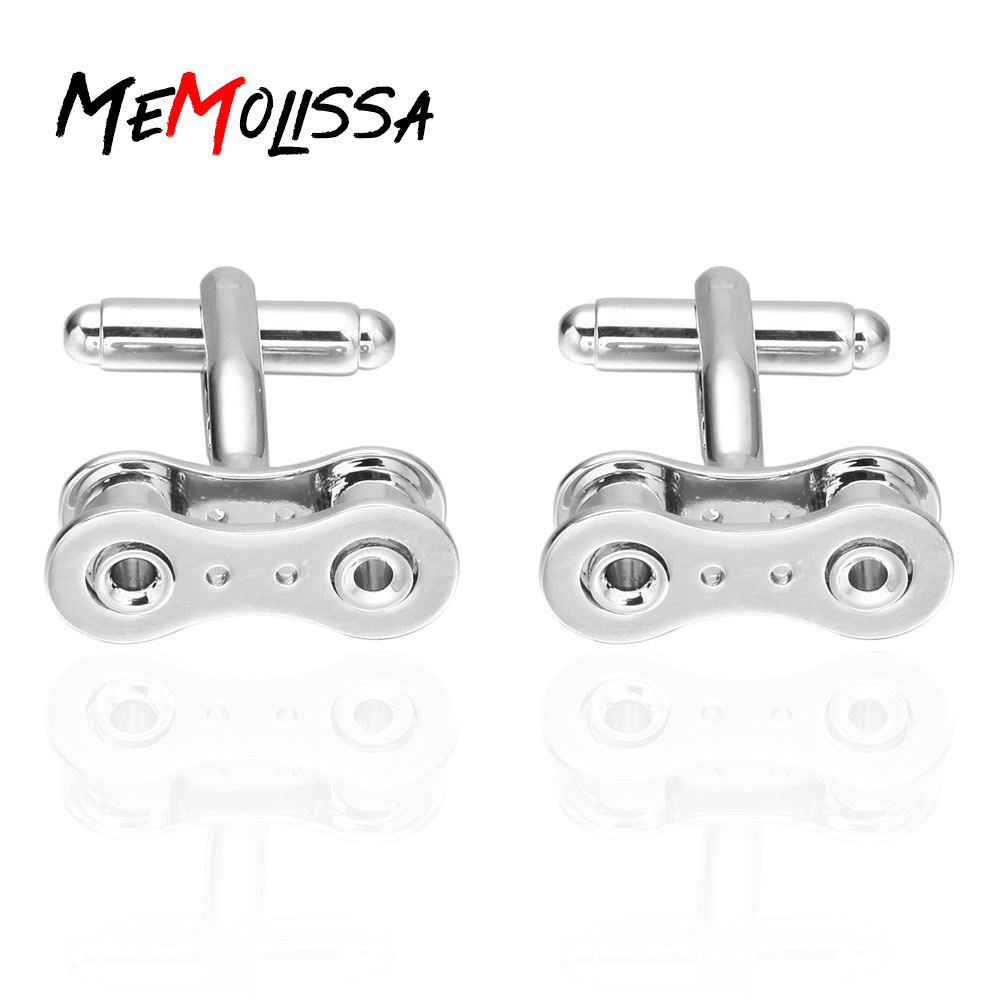 MeMolissa Display Box Cufflinks Classic Solid Silver Color Shirt Cufflinks For Mens Bike Chain Cufflinks Free Tag & Wipe Cloth