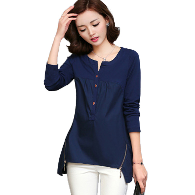 S-4XL Plus Size Women Blouses 2016 Autumn Winter Fashion Splicing Side Zipper Women Shirts V-neck Office Femme Blusas