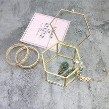 Glass Golden Jewelry Box Transparent Jewelry Box Unique Hexagonal Geometric Ring Box For Home Decoration Wedding Decorations