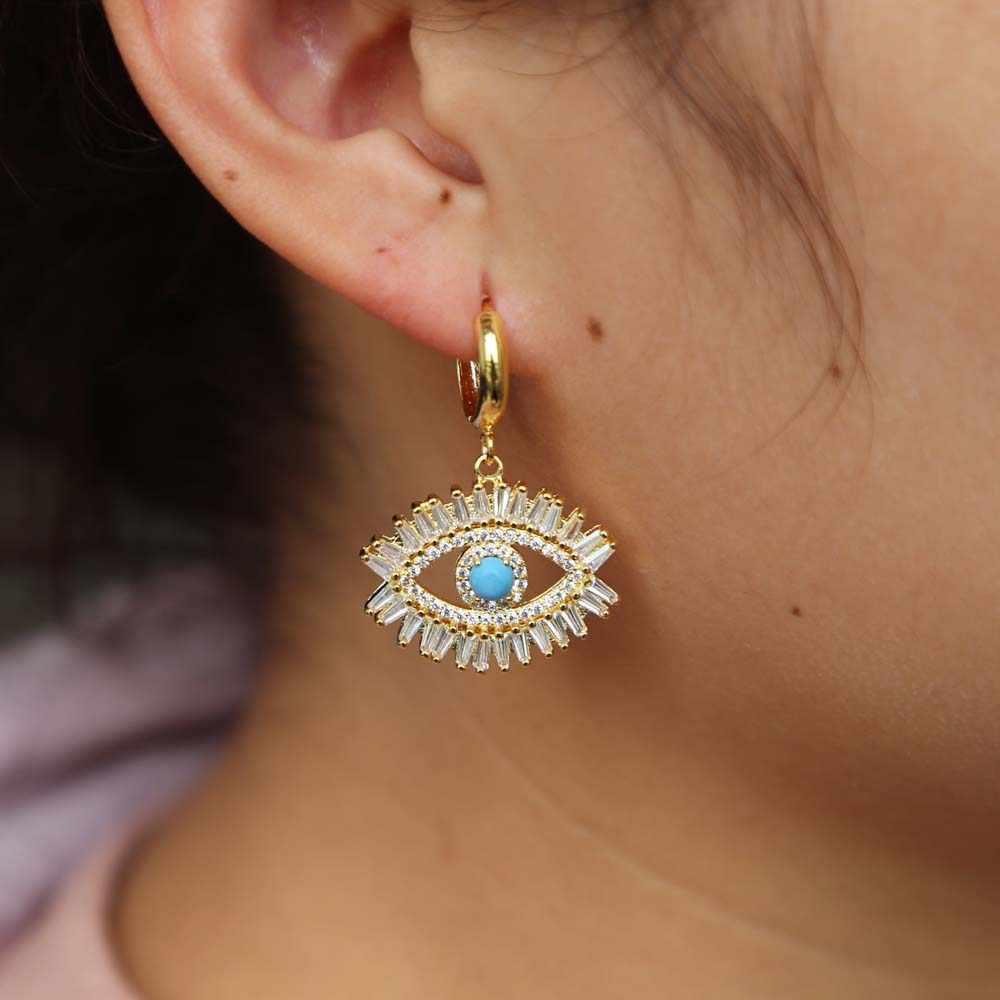 Luxury Lucky Sweet ผู้หญิงเครื่องประดับ dangling Evil Eye ต่างหูทองเงินสี Gorgeous Boho ตุรกีต่างหู