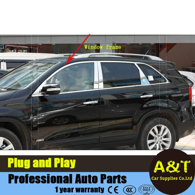 Stainless Steel Full Window Trim Decoration Strips For Kia Sorento 2009 2014 high quality chrome stickers trim car styling