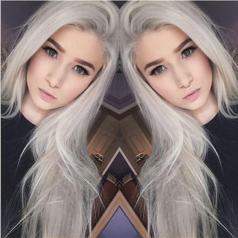 Silver Long Silky Straight Hair For Women Synthetic Lace