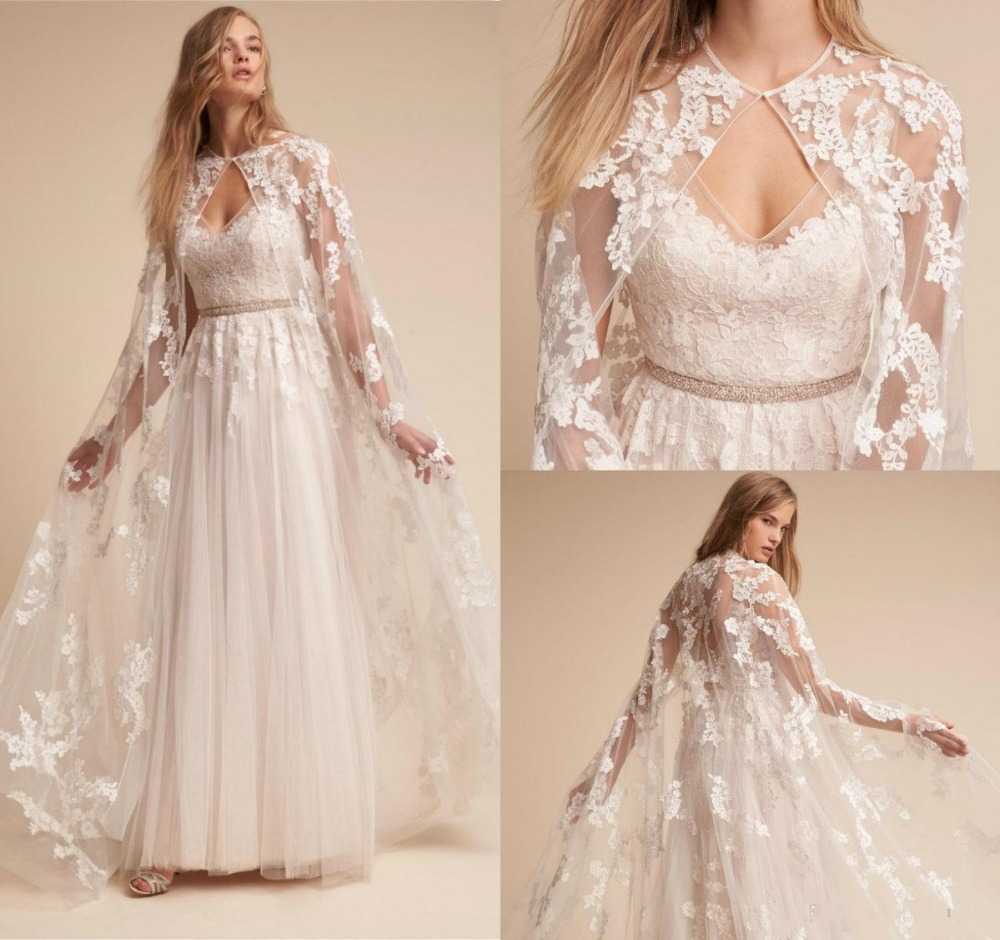 2019 Fashion Bridal Wraps Full Lace Appliques Sweep Train Wedding Cape Custom Made Cheap Wedding Wraps