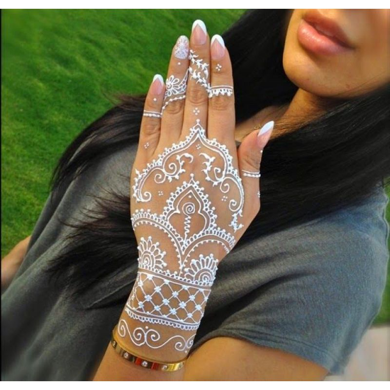 White Henna Tattoo Paste Cone Indian Mehndi Waterproof Tattoo For