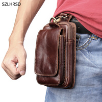 Genuine Cow Leather Mini Casual Bag Men's Waist Belt Bags Purses Wallet Case Cover Holder For Xiaomi For Huawei 5.5Mobile Phone