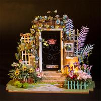 DIY Small Doll House Mysterious Door Artistic House without Dust Cover