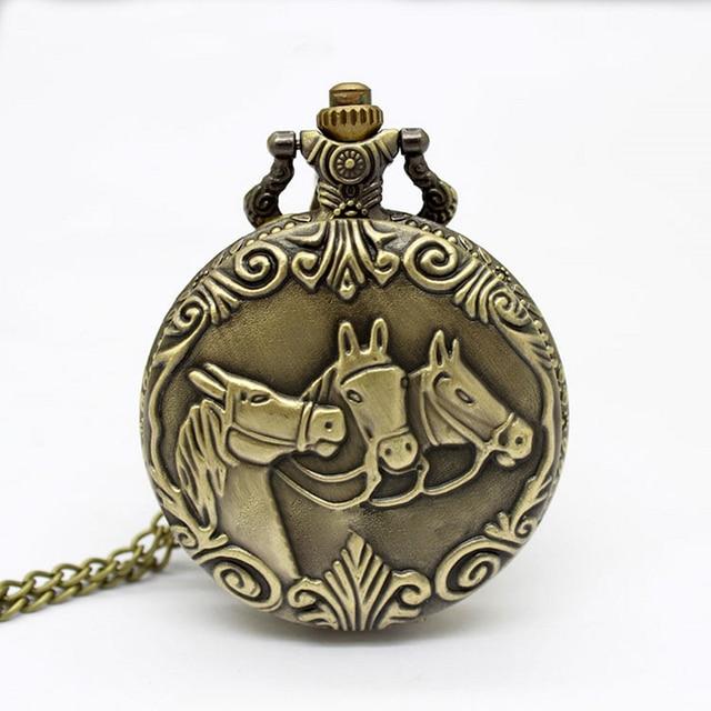 Antique Classic Bronze Steampunk Quartz Pocket Watch Horses Necklace Chain Men W