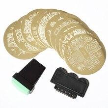 10pcs/set Nail Makeup Tools Nail Art Polish Stencil Stamping Print Plate Template and 1pcs Stamper 1pcs Scraper Kit Tool