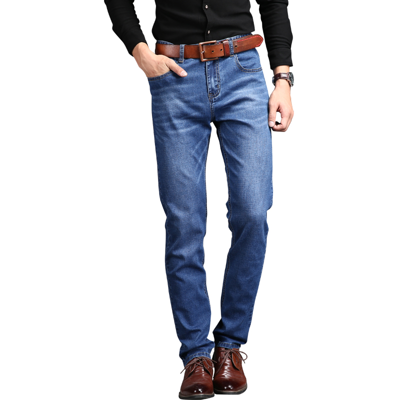 DEE MOONLY Brand High Quality Men Jeans Size 28 to 42 Dark Blue Stretch Denim Slim