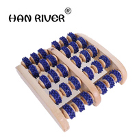 Easy carry foot massager natural woodiness 5 environmental foot massager Roller foot massage barbed apron foot massager