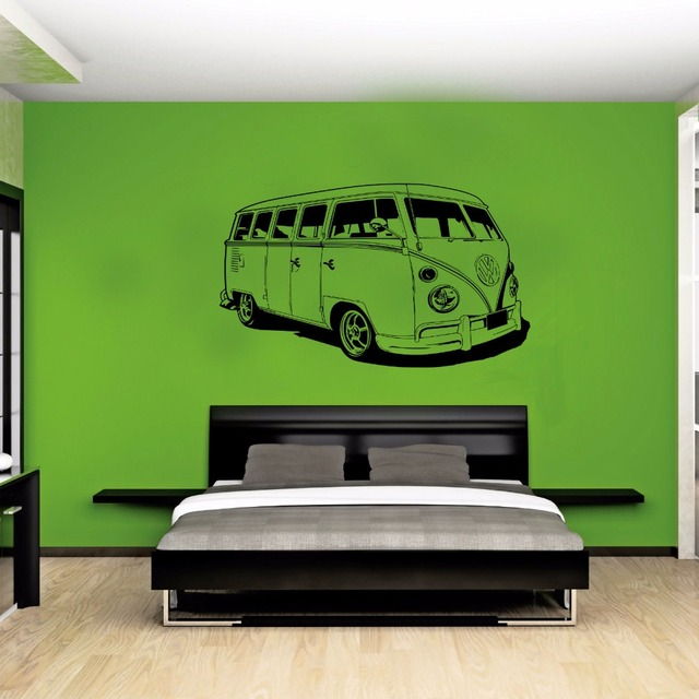 Vw Camper Van >> Us 18 49 Besar Vw Stiker Mobil Volkswagen Camper Van Retro Hippy Klasik Wall Art Removable Cut Vinyl Decal Stencil Mural Rumah Room Decor Di Wall