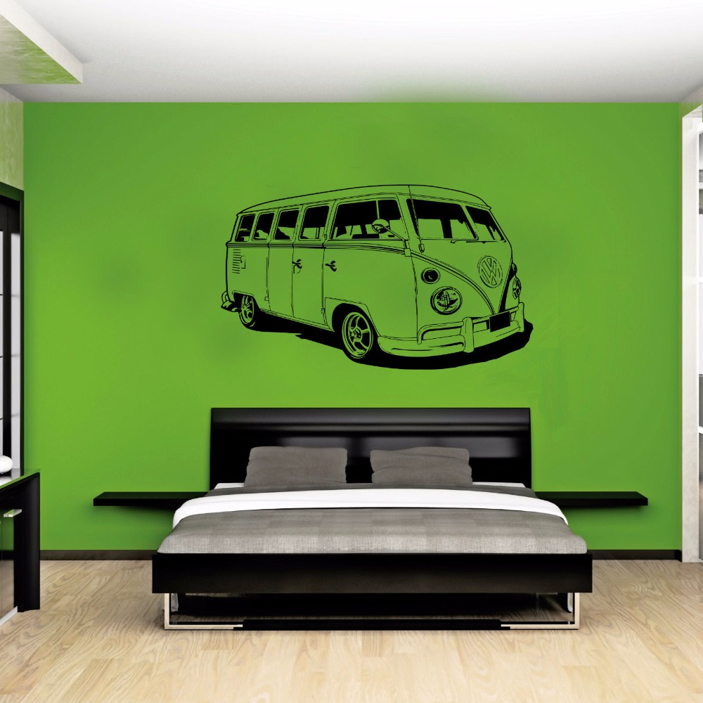 Large Car Vw Sticker Volkswagon Camper Van Retro Hippy Classic Wall Art Removable Cut Vinyl Decal Stencil Mural Home Room Decor