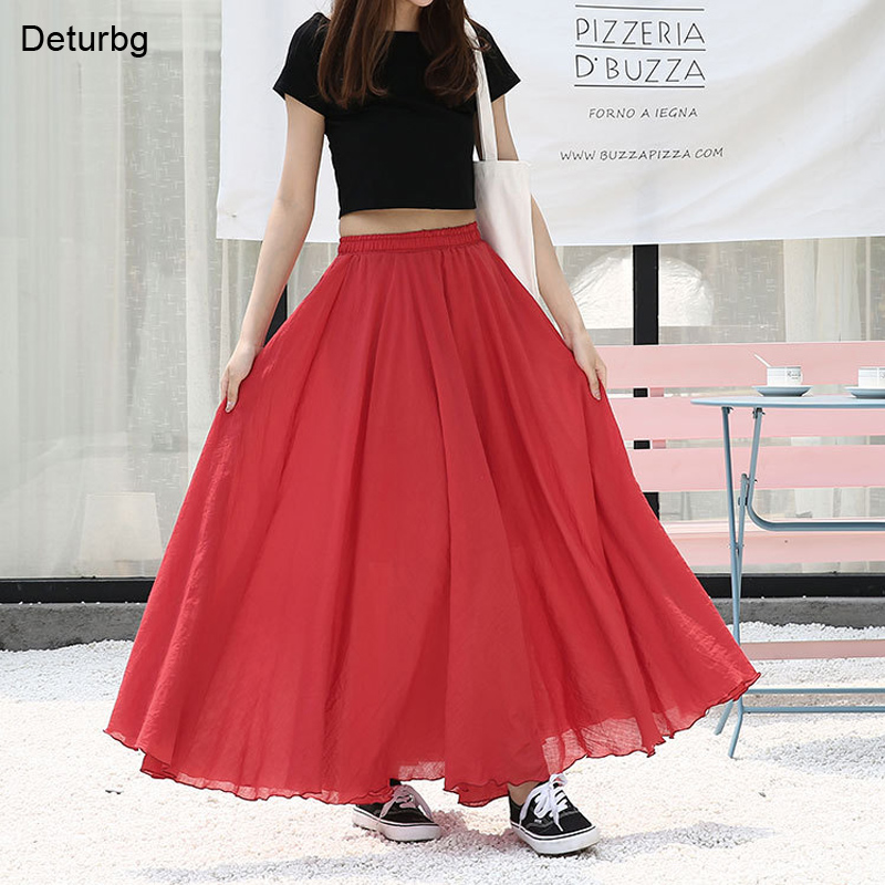 Japanese Style Solid High Waist Skirt For Women Ladies Maxi Skirts Casual Elastic Waist 2 Layers Red Linen Long Skirts Saias P1