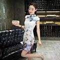 Women Qipao Autumn Velvet Short Sleeve Chinese Traditional Dress Cheongsam Sexy Short Qipao Print