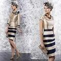 Plus Size Striaght praça Collar joelho de comprimento mãe da noiva vestidos com 3/4 mangas mãe de vestido de noiva M02