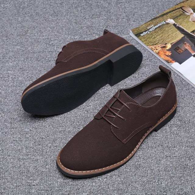 2019 High Quality Suede Leather Soft Shoes Men Loafers Oxfords Casual Male Formal Shoes Spring Lace-Up Style Men's Shoes 28