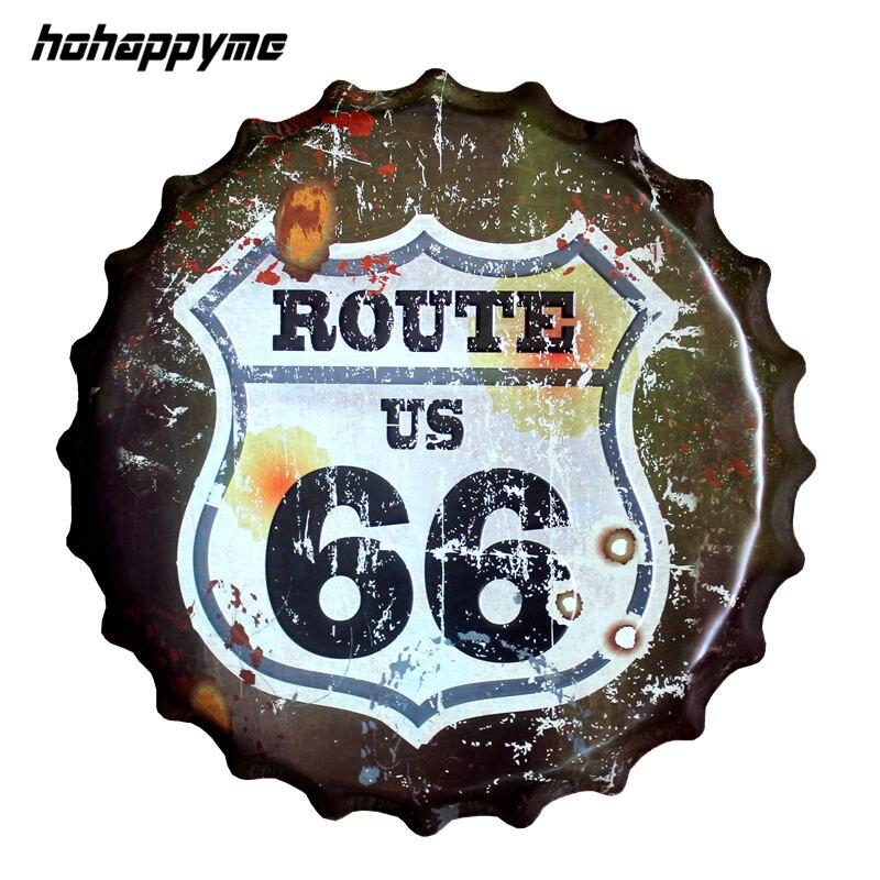 usa route 66 road bottle cap decorative metal plate plaque vintage pub wall art metal sign. Black Bedroom Furniture Sets. Home Design Ideas