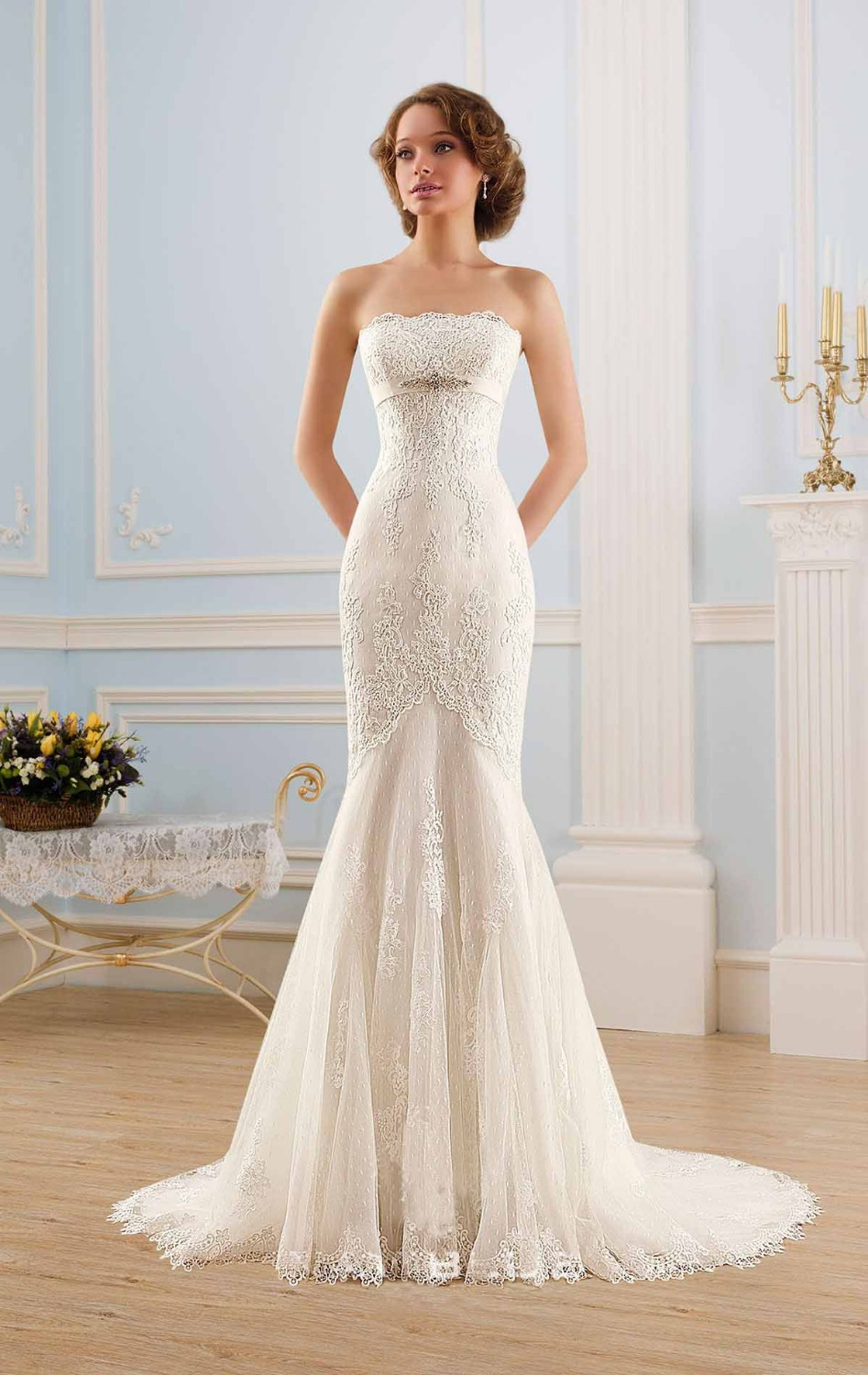 Free Shipping WD 1430 Strapless fit and flare latest bridal gowns ...