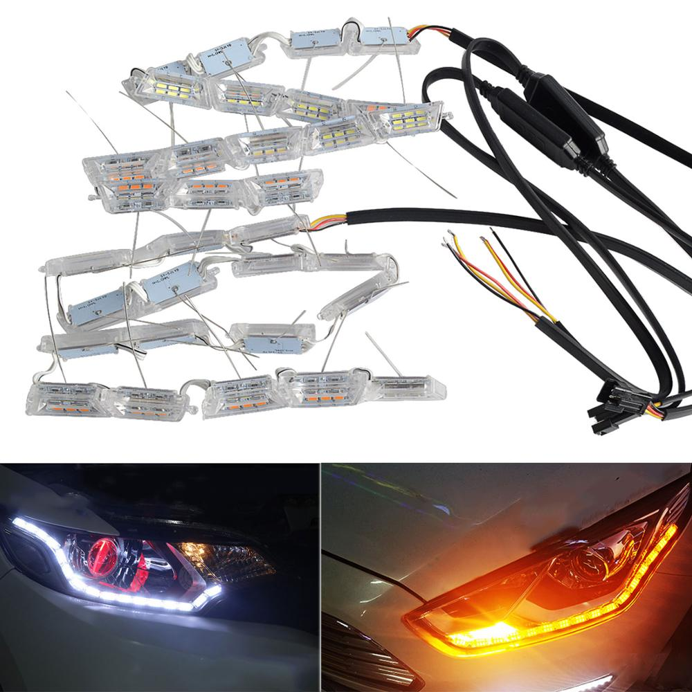 2Pcs dynamic turn signal drl led driving light 12v waterproof flexible daytime running lights warning flow strip for vw golf kia