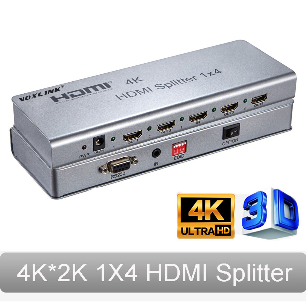 4K*2K 1X4 HDMI Splitter 3D HDMIv1.4 Splitter 1 In 4 Out 4-Port HDMI Switcher With Adapter Support IR extension, EDID, RS232 hdmi splitter 1 in 2 out support 3d 4k x 2k hdcp edid