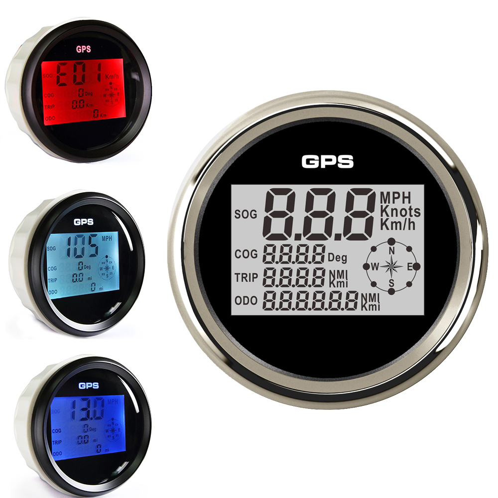 85mm Car Boat Digital Speedometer Gauge 8 Colors Backlight