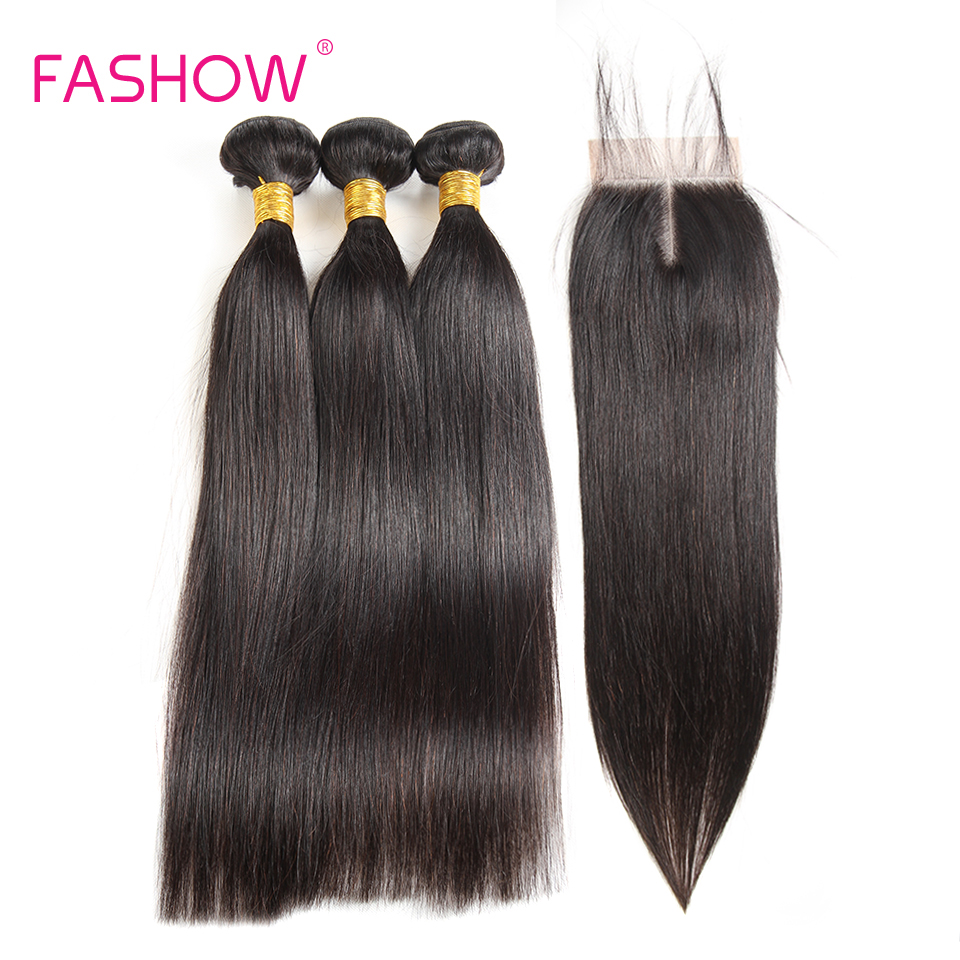 Fashow Hair Brazilian Human Hair With Lace Closure 3 Bundles With Closure 4 pcs/lot Swiss Lace Non Remy Straight Hair Bundles ...