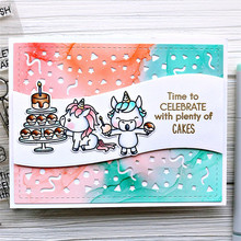 YaMinSanNiO Birthday Dies Cute Animals Cake Metal Cutting Dies and Clear Stamps Craft Scrapbooking Carbon Die Cuts New 2019