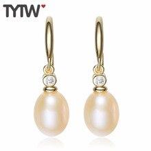 TYTW Freies Verschiffen 925 Silber Rosa Shell Perlen Ohrringe Frauen Geschenk Elegnat Schmuck Lange Earbob Süßwasser Perle Ohrstecker