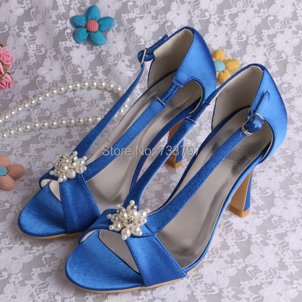 ФОТО Wedopus Blue High Heel Bridal Shoes Sandals With Pearl For Women