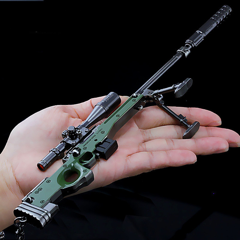 AWM sniper rifle Model with silencer Alloy weapons Keychain Super Magnum PUBG PLAYERUNKN ...